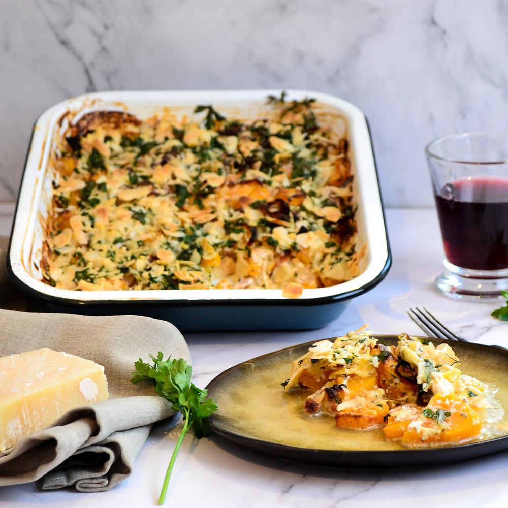 Pompoen met prei en parmezaanse kaas uit de oven