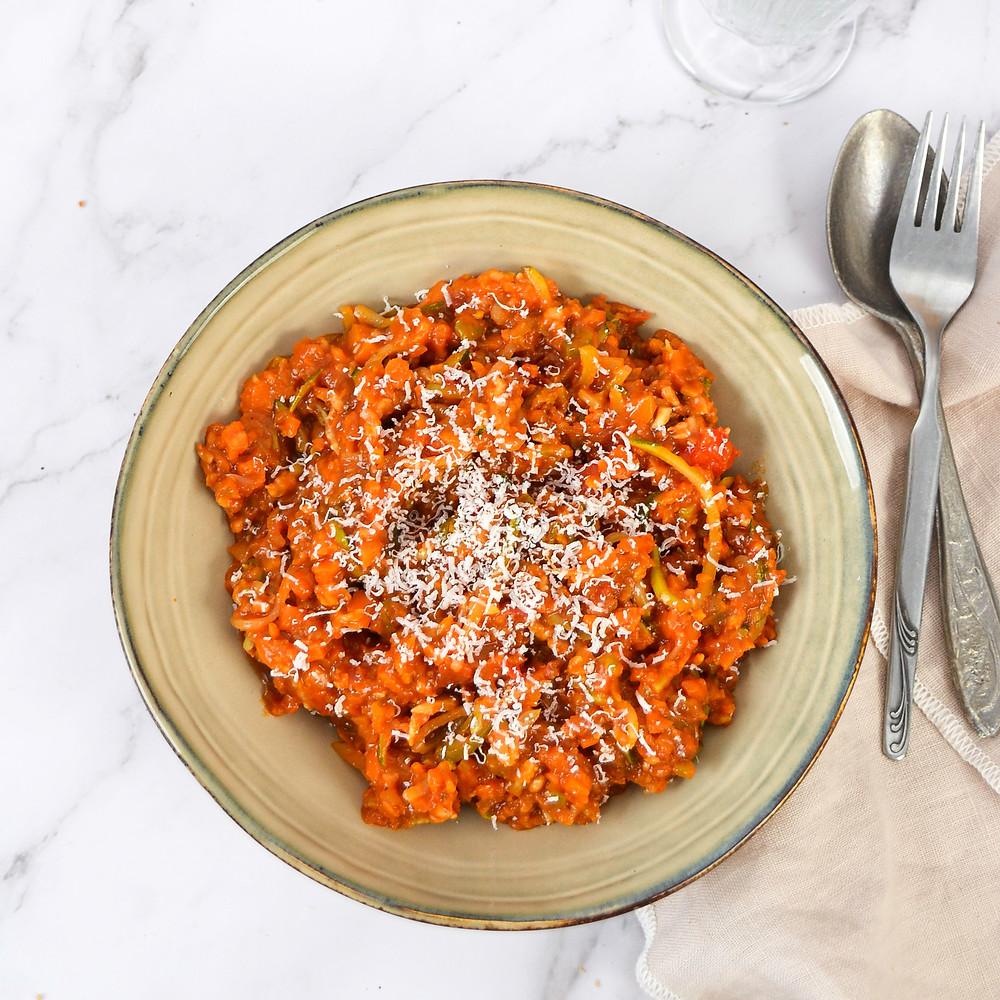 Recept voor een gezonde pasta met rode saus