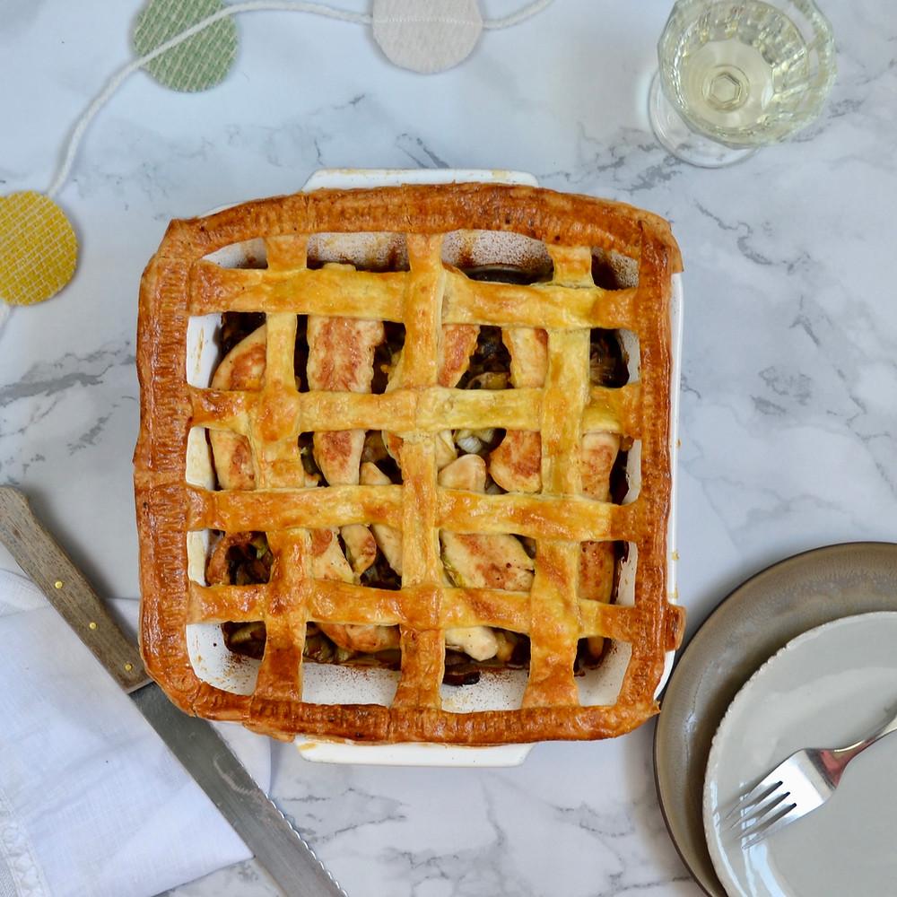 Franse bladerdeegpie met kip