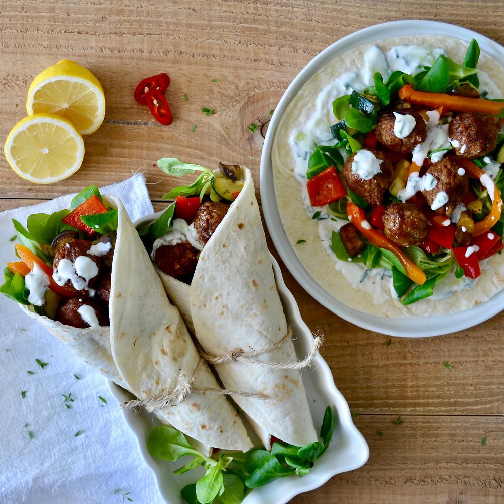 Vegetarische wraps met gegrilde groenten