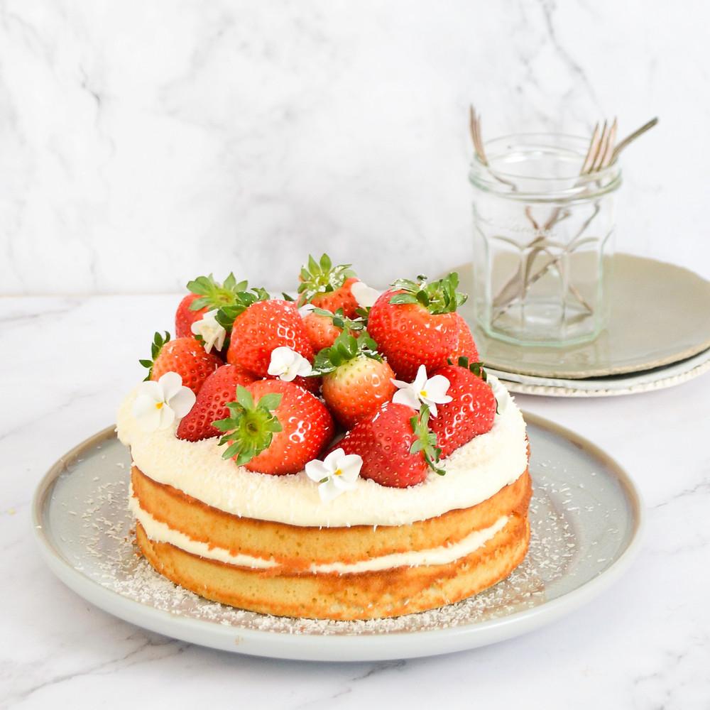Aardbei limoncello naked cake recept