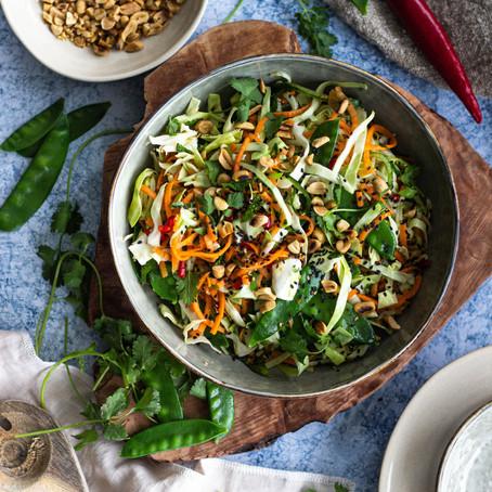 Vietnamese salade met sugarsnaps