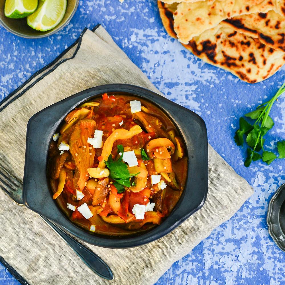 Recept voor vegetarische curry met paddenstoelen en feta