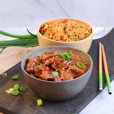 Pittig Indisch stoofvlees met gebakken rijst