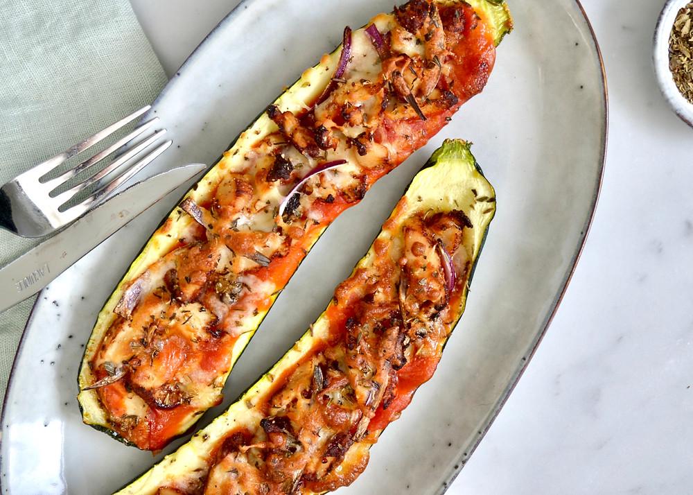Skinny courgettepizza's