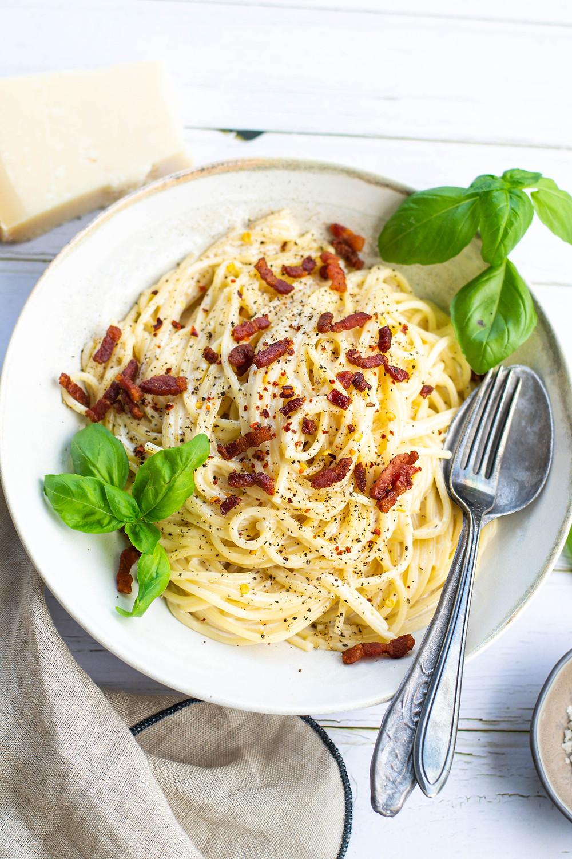 Pasta recept met spekjes en room