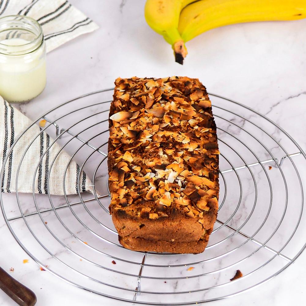 Recept voor een gezond bananenbrood en kokos