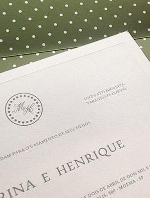 Convite de casamento com forro impresso