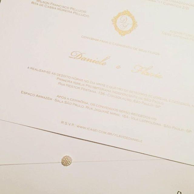 Convite de Casamento silk Dourado #casam