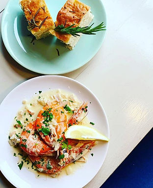 Tuscan Tiger Prawns with head chef Lou's