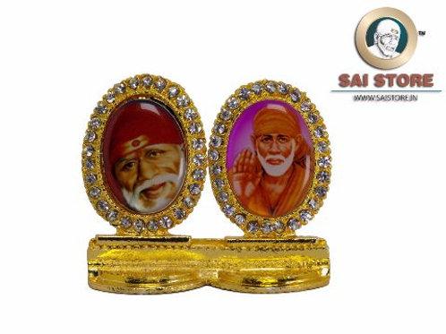 Sai Baba Face & Ashirwad Gold Plated & Round Diamond Pair Stand -1