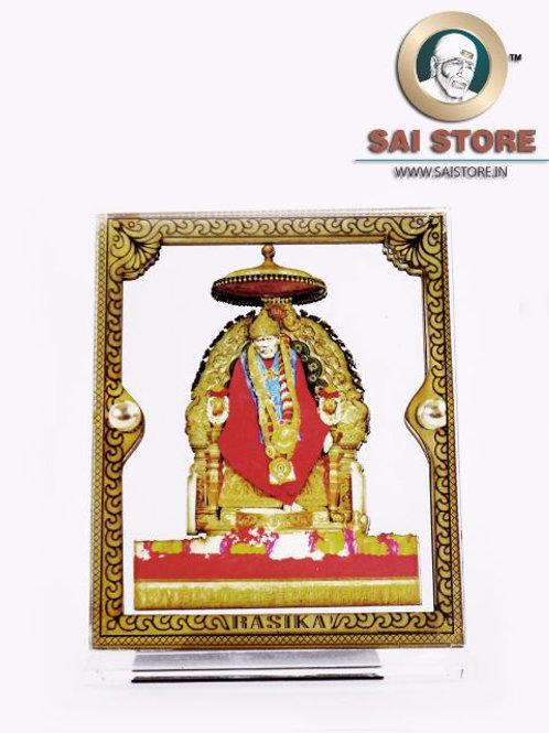 Sai Baba Wooden Acrylic Stand - Samadhi - Cube - Large
