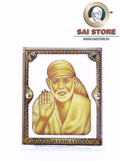 Sai Baba Wooden Acrylic Stand - Ashirwad - Cube - Small  (Yellow )