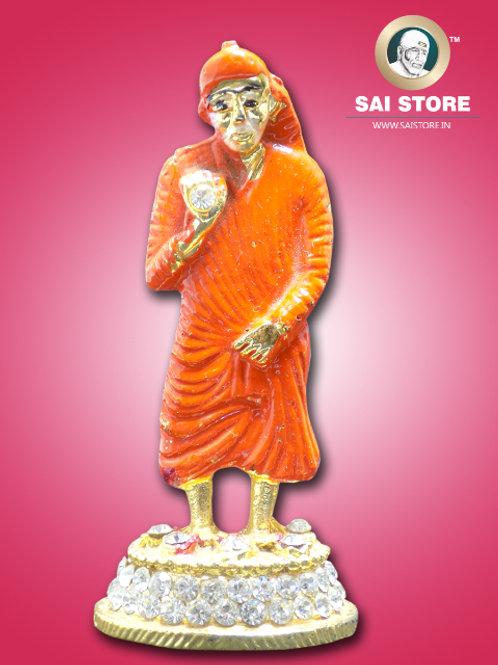 Sai Baba Diamond With Gold Plated Metal Stand (Orange) - No.- 60