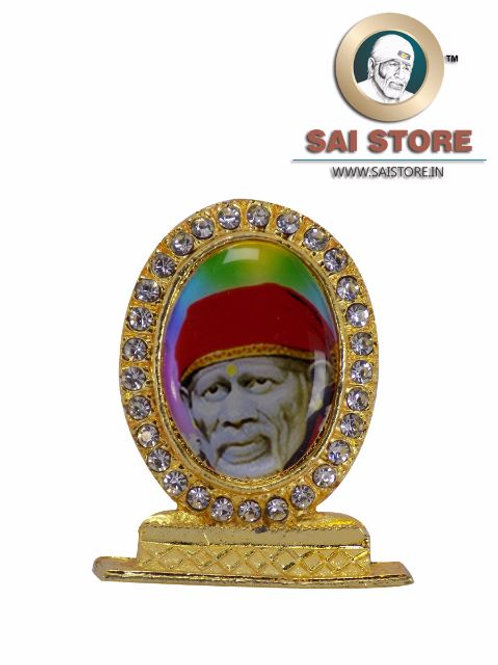 Sai Baba Face With Red Kafni Gold Plated & Round Diamond Stand - Colourful  Back