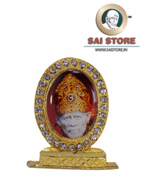 Sai Baba Crown Gold Plated & Round Diamond Stand - Red  Background