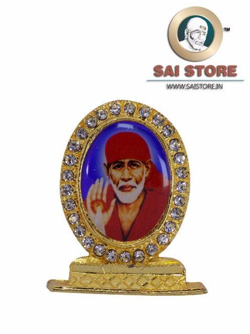 Sai Baba Ashirwad Gold Plated & Round Diamond Stand