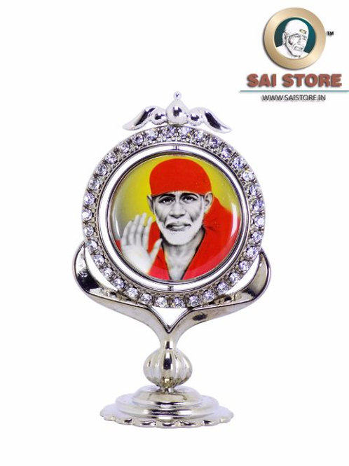Sai Baba Diamond With Silver Plated Metal Stand - Yellow Background