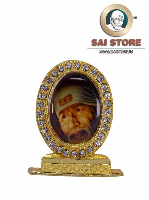 Sai Baba Face With White Kafni Gold Plated & Round Diamond Stand - Red Backgroun