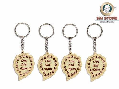 Om Sai Ram Wooden Keychain