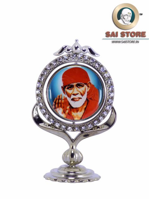 Sai Baba Diamond With Silver Plated Metal Stand - Blue Background