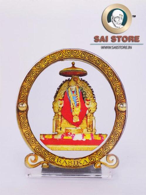 Sai Baba Wooden Acrylic Stand - Samadhi - Round - Large