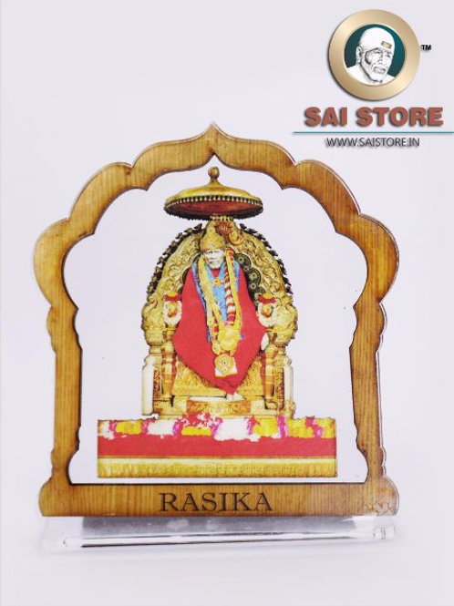 Sai Baba Wooden Acrylic Stand - Samadhi - Mandir - Large