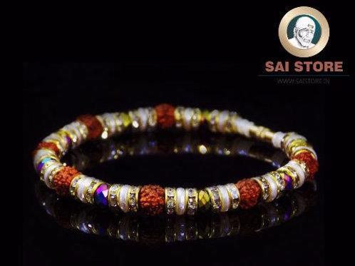 Panch Mukhi Rudraksha With Colorful Stone & White Diamond Bracelet No.40