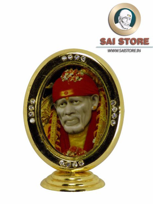 Sai Baba Diamond Gold Plated Idol Mirrored Stand - Round Shape ( Red )