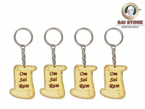 Om Sai Ram Wooden Keychain ( Letter Shape )