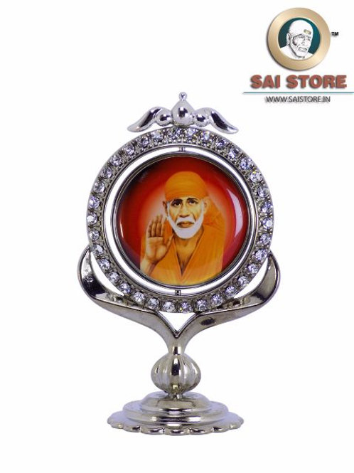 Sai Baba Diamond With Silver Plated Metal Stand - Red Background