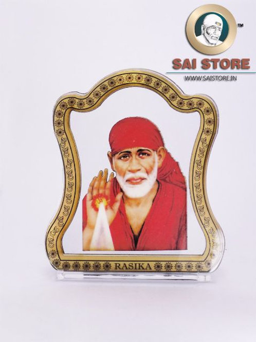 Sai Baba Wooden Acrylic Stand - Ashirwad -Letter - Large - ( Red )