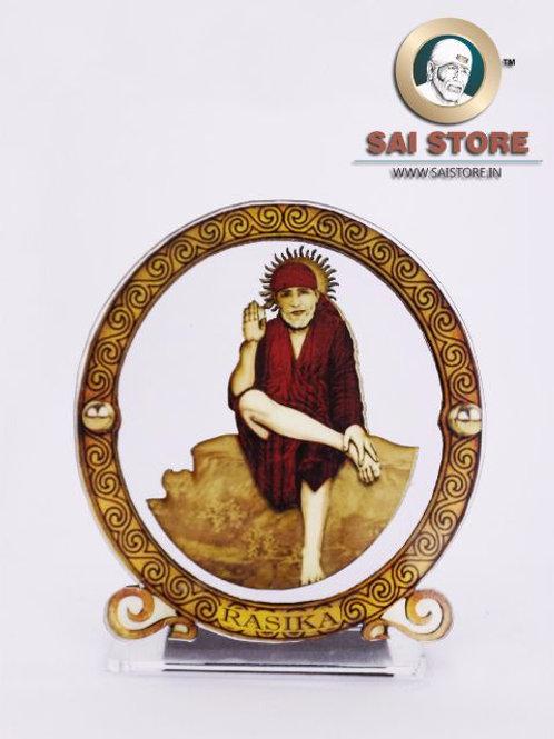 Sai Baba Wooden Acrylic Stand - Dwarkamai -  Round - Small -