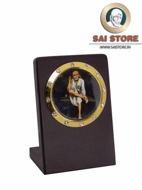 Sai Baba Gold Plated Black Acrylic Sticker Stand - Ashirwad