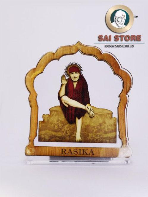 Sai Baba Wooden Acrylic Stand - Dwarkamai -  Madir - Small