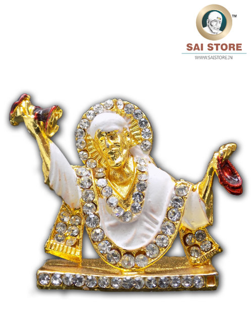 Sai Baba Diamond With Gold Plated Metal Stand(White) - No.- 80