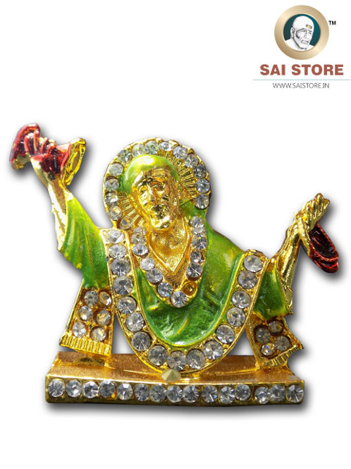 Sai Baba Diamond With Gold Plated Metal Stand (Green) - No.- 80