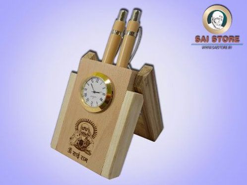 Wooden Sai Pen Holder with 2 Pens & Watch