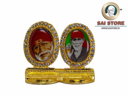 Sai Baba Face & Ashirwad Gold Plated & Round Diamond Pair Stand -2