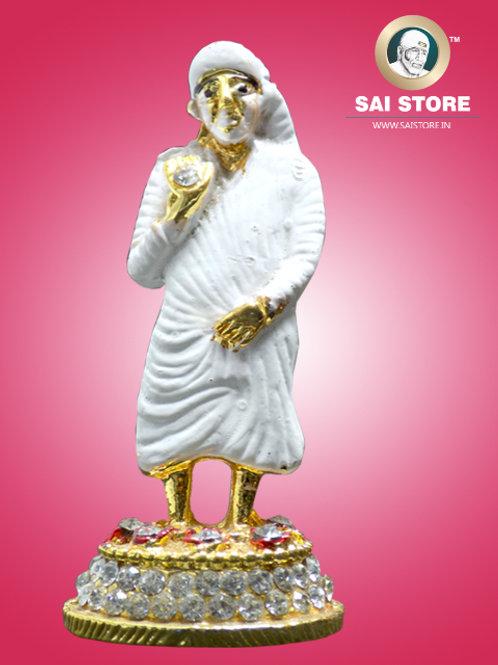Sai Baba Diamond With Gold Plated Metal Stand (White) - No.- 60