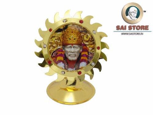Sai Baba Red & White Diamond Gold Plated Idol Mirror Sticker Stand