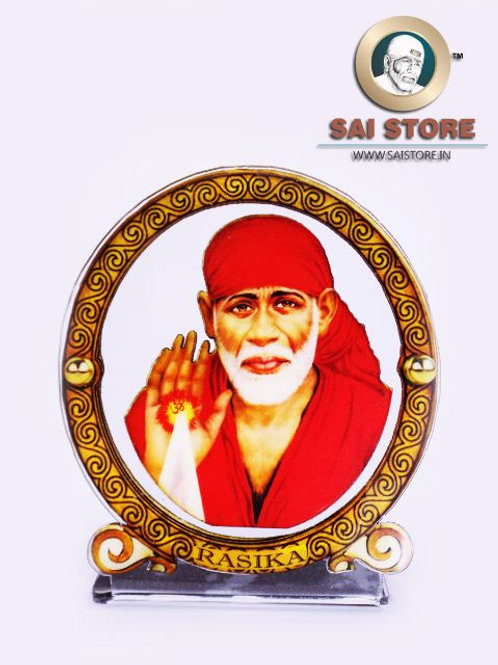 Sai Baba Wooden Acrylic Stand - Ashirwad - Round - Small  (Red)