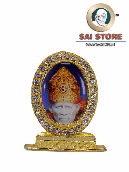 Sai Baba Crown Gold Plated & Round Diamond Stand - Blue  Background