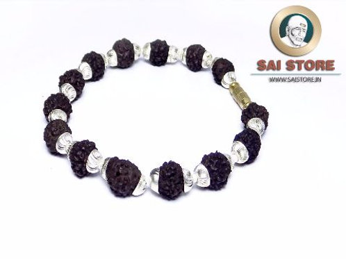 Silver Caps Panch Mukhi Rudraksha Bracelet No.50