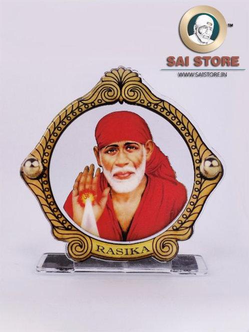 Sai Baba Wooden Acrylic Stand - Ashirwad - Bordered Round - Large - ( Red ) -