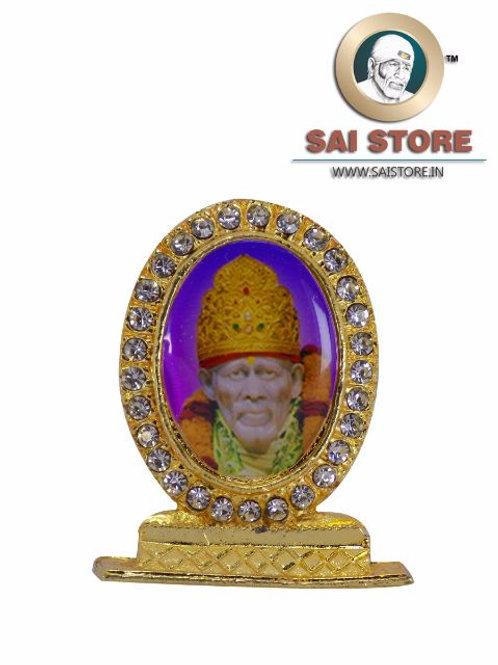 Sai Baba Samadhi Gold Plated & Round Diamond Stand - Violet Background