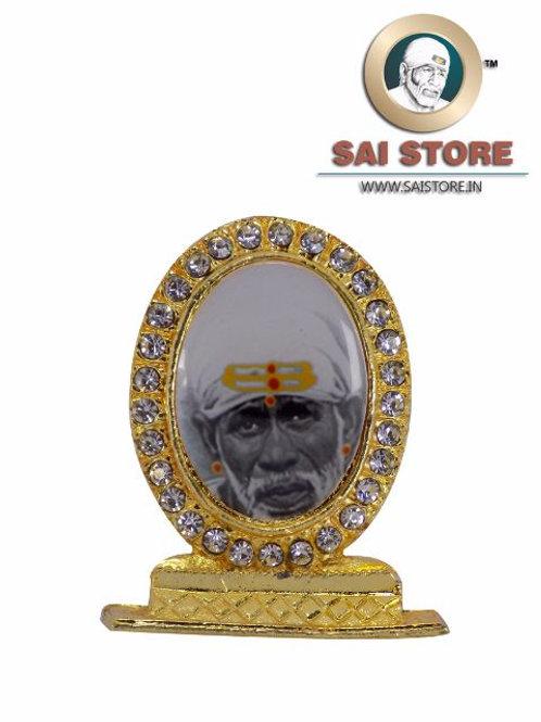 Sai Baba Face  Gold Plated & Round Diamond Stand - Black & White