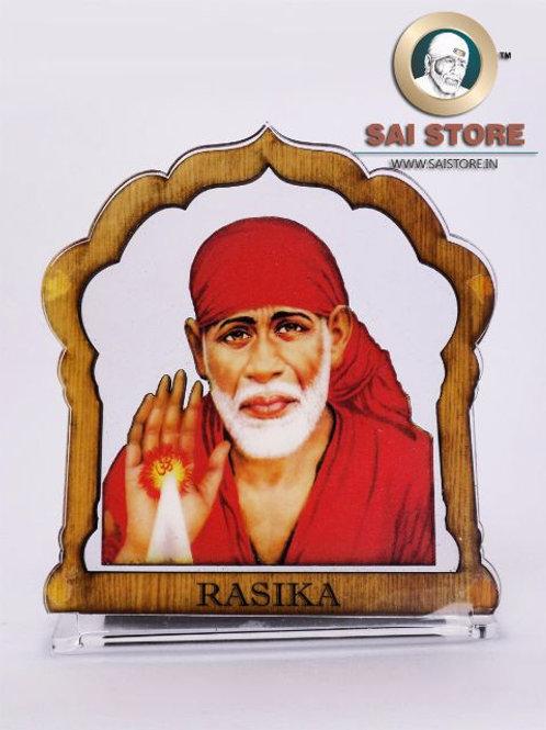 Sai Baba Wooden Acrylic Stand - Ashirwad - Mandir - Large - ( Red )