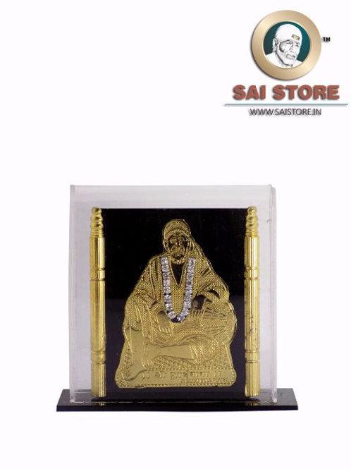 Sai Baba  24 Carat Golden Plated With Diamond Acrylic Dashboard - Dwarkamai
