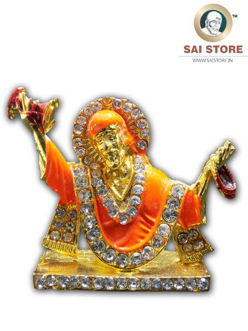 Sai Baba Diamond With Gold Plated Metal Stand (Orange) - No.- 80